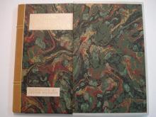 Bound book with slipcase, velum edges, marbled sides (velum taken from original binding.)